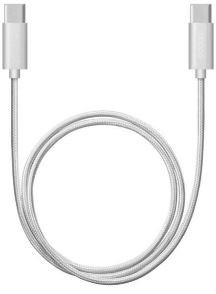 Кабель Deppa USB Type-C - USB Type-C 1.2m алюминий/нейлон (Серебро)