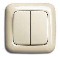 Настенный двухклавишный выключатель на батарейках (кремовый) (ZMR_WCD_1)